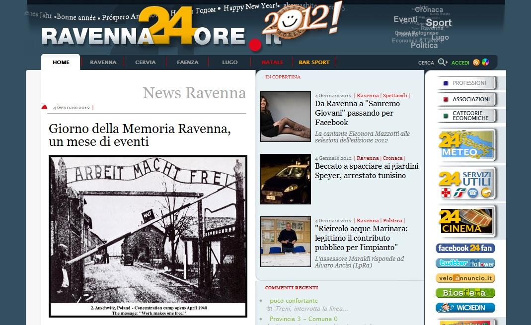 Ravenna24ore, 4-1-2012 Homepage
